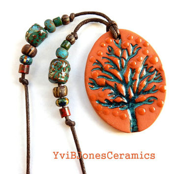 Ceramic Tree of Life Necklace, Earthy Rustic Jewelry, Hippie Jewelry, Artisan Jewelry, Free Shipping