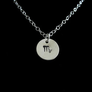 Virgo Necklace, Sterling Silver, Hand Stamped, Circle Zodiac Pendant