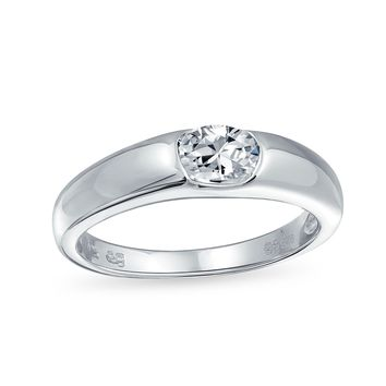 .50 CT Brilliant Solitaire CZ Band 925 Sterling Silver Engagement Ring