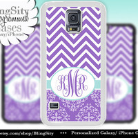 Monogram Galaxy S5 case S4 Purple White Chevron Personalized Zig Zag Samsung S3 Note 2 3 Cover Damask Vintage European Pattern