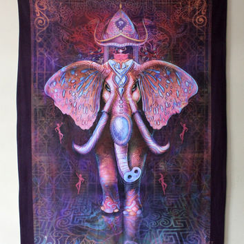 Pink Elephant Tapestry / Fleece Blanket  / Wall Hanging 5ft wide by almost 7ft tall - Powerful Captivating Inspired Artwork - Visionary