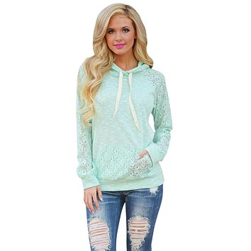 Light Green Lace Accent Kangaroo Pocket Hoodie