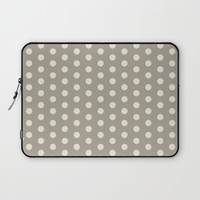 Polka Dot Alabaster Blue Gray Laptop Sleeve by Beautiful Homes