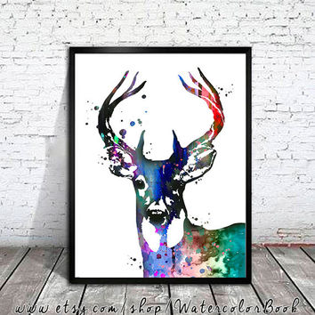 Deer Horns 4 Watercolor Print, deer art, deer print, watercolor art, Illustration, home decor, wall art,  watercolor animal, deer poster