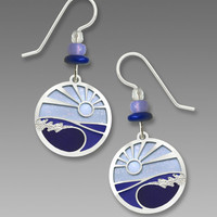 Adajio Earrings - Periwinkle Blues and Silver Tone Foaming Waves Overlay