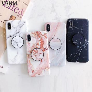 For iphone X case Marble TPU Case for iphone 8 8Plus Scrub TPU case for iphone 6 6plus 7 7plus Protective shell and Phone Holder