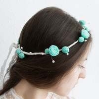 Minte Ranunculus flower floral crown hair wreath, Wedding headpiece, headband, vintage inspired rose crown