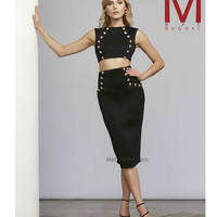 Mac Duggal 30060 Black Crop Fitted Scuba Knit Two Piece Dress  2015 Homecoming Dresses
