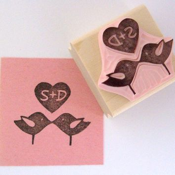 Love Birds Personalized Hand Carved Rubber Stamp by cupcaketree