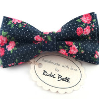 Bow Tie - floral bow tie - wedding bow tie - blue bow tie with pink flowers pattern - man bow tie  - men bow tie - gifts for him