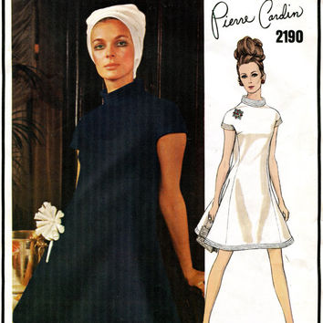 1960s VOGUE DRESS PATTERN Mod Pierre Cardin Designer Dress with Standing Neckline Vogue 2190 Paris Original Vintage Women's Sewing Patterns