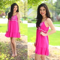 Embroidered Beauty Dress in Hot Pink