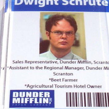 Official Dunder Mifflin Dwight Shrute ID Fridge Magnet big 2.5 X 3.5 inches