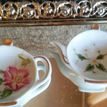 Vintage Lefton China Tea Bag Holders with Gold accents