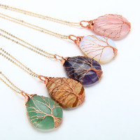 Natural Amethyst Quartz Opal Stone Pendants Handmade Rose gold Tree of Life Wrapped Drop Shaped crystal pendant necklace jewelry