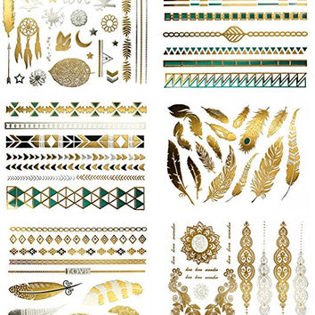 Metallic Glitter Colored Temporary Long Lasting Tattoos 75+ Designs, 6 Sheets
