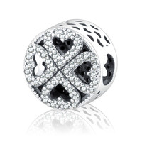 2016 Winter Fit Original Pandora Charms Beads Bracelets DIY 100% 925 Silver Heart Bead Petals of Love Silver Charm With Clear CZ