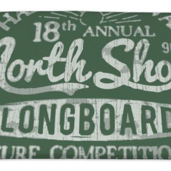 Bath Rug Mat No Slip Microfiber Memory Foam, North Shore Surf Themed Vintage Design, 34x21