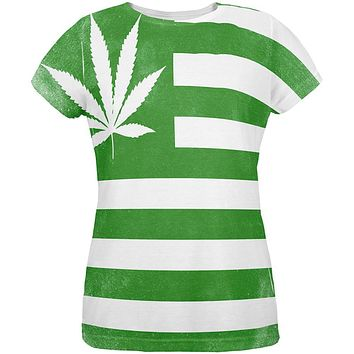 American High Pot Leaf Flag All Over Womens T Shirt