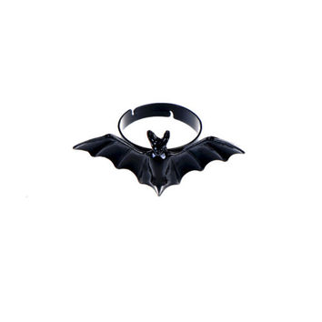 New Women Jewelry Wholesale Black Bat Personality Adjustable Ring Animal Ring