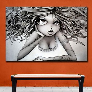 Fashion Huge Vinie Graffiti Art Paintings Print On Canvas HD Abstract Black Girl Canvas Painting Office Wall Art Home Decor