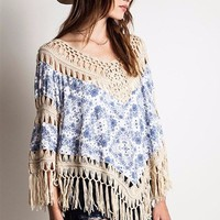 Boho Blue and White Fringe top
