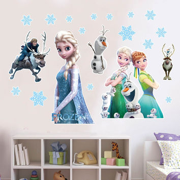 Cartoon Frozen wall stickers for kids childrens room home decorations decals pvc removable wallpaper waterproof bedroom sticker
