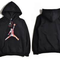 """""""Air Jordan"""" Fashion Casual Unisex Solid Color Loose Cartoon Letter Pattern Print  Round Neck Long Sleeve Couple T-shirt Hooded Plus Cashmere Sweater"""