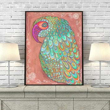 Colorful Parrot Nursery wall art, Girls Room Decor, Art for Kids, Modern Giclee Large Print, Parrot Illustration Drawing, Parrot painting