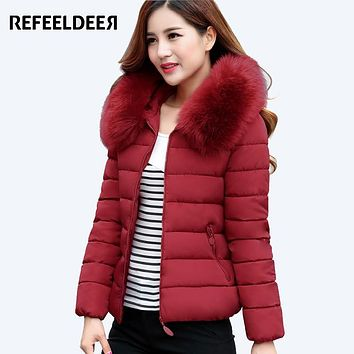 Refeeldeer New Women's winter jacket with Fur Collar 2017 Hooded Thick Warm Parkas For Women Winter Coat Female Quilted Coat