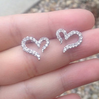 Rhinestone Heart Earrings from Country Wind