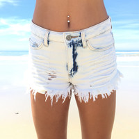 Futuristic Light Wash Cut Off Denim Shorts