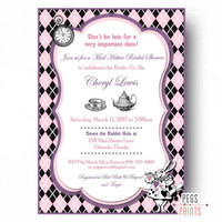 Printable burlap and lace bridal shower from pegs prints mad hatter bridal shower invites printable mad hatter tea party invitations tea party bridal filmwisefo