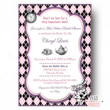 Mad Hatter Bridal Shower Invites - PRINTABLE Mad Hatter Tea Party Invitations - Tea Party Bridal Shower Invitation - Pink Bridal Shower Tea