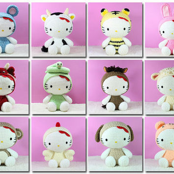 PDF Pattern 12 Amigurumi Hello Kitty in Chinese Zodiac Costume