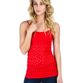 RED TANK TOP WITH FLOWER OPENINGS AND BUILT IN BRA