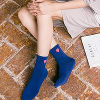 5Pcs Comfortable Heart Printed Socks Gift 01