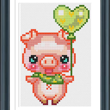 Piggy With Heart, Cross Stitch Pattern PDF, Funny Cross Stitch, Modern Cross Stitch, Pig Cross Stitch, Animal Cross Stitch, Pig Pattern
