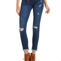 Dark Wash Denim Kan Can Destroyed Skinny Jeans by Charlotte Russe