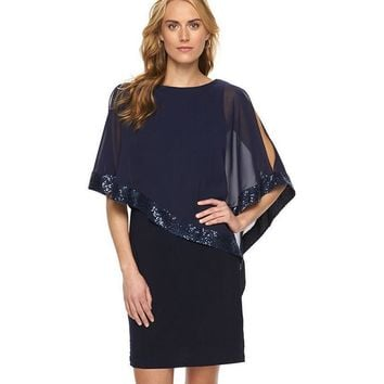 Patchwork O-neck Batwing Sleeve Hollow Dress