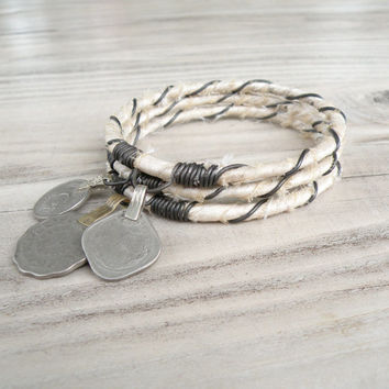 Silk Road Bangle Stack, 3 Piece Set, Tribal Gypsy Coins, Silk wrapped, Off White, Bohemian Wedding