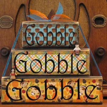 Thanksgiving Decor, Thanksgiving Decoration, Thanksgiving Sign, Fall Decor, Fall Decoration,  Gobble, Gobble, Gobble Word Blocks Sign