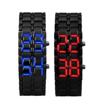 2x Lava Style Iron Samurai Black Bracelet LED Japanese Inspired Watch