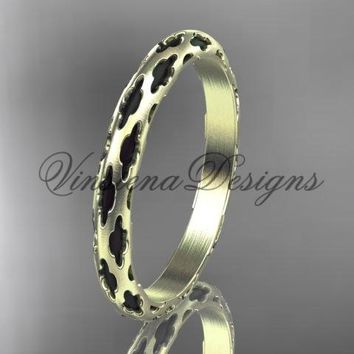 14kt tellow gold stackable, stacking ring, wedding band, midi ring, black enamel WB120018