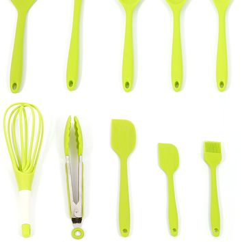 Premium Silicone Kitchen Cooking Utensils Set of 10 Pieces Mixing Spoon, Slotted Spoon, Tongs, Spoonula, Ladle, Turner, Basting Brush, Whisk, Large Spatula,Small Spatula with bottle opener _Green