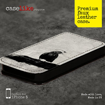 Premium Faux Leather iPhone 5 Case -  Black Bird on Light Grunge iPhone Case 1 - for iPhone 5 / iPhone 4s / iPhone 4