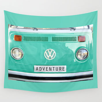 Adventure wolkswagen. Summer dreams. Green Wall Tapestry by Guido Montañés