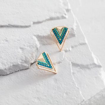 Turquoise and Gold Chevron Stud Earrings