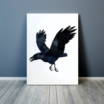 Bird poster Geometric print Raven art Wall decor TOA68