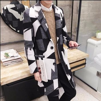 Korean version NEW winter men's wool coat long Slim woolen trench coat tide printing jacket woolen coat